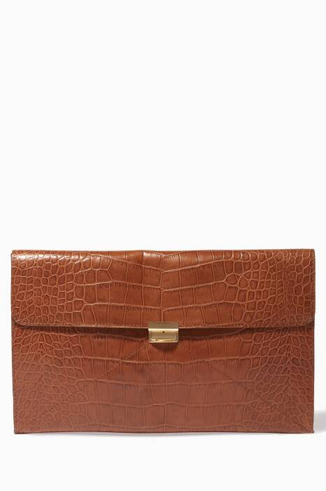Brown Embossed Leather Clutch Bag