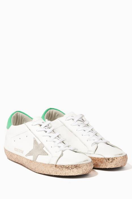 White Low-Top Glittered Sole Superstar Sneakers