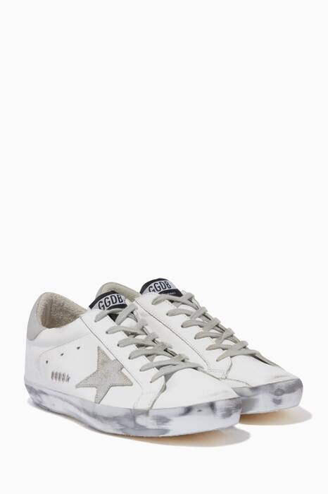 White & Silver Sparkle Low-Top Superstar Sneakers