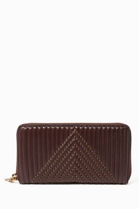 Burgundy Quilted Accordion Zip Wallet