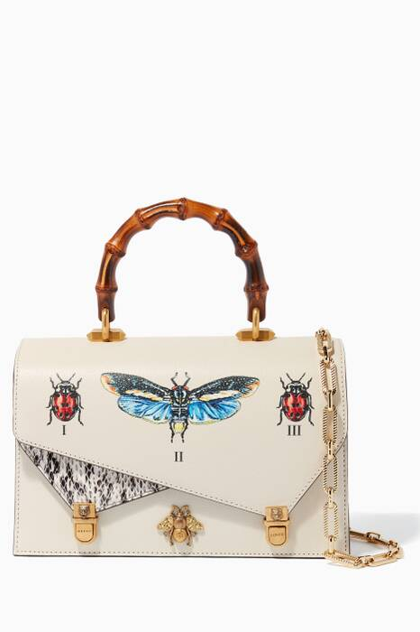 White Small Ottilia Leather Top Handle Bag