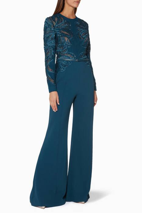 Blue Embroidered Cape Jumpsuit
