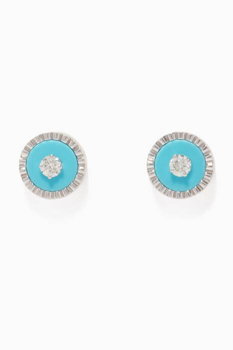White-Gold, Diamond and Turquoise Coco Earrings
