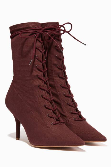 Burgundy Lace-Up Boots