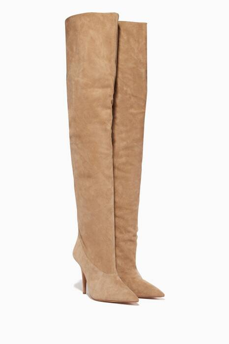 Beige Suede Tubular Thigh-High Boots