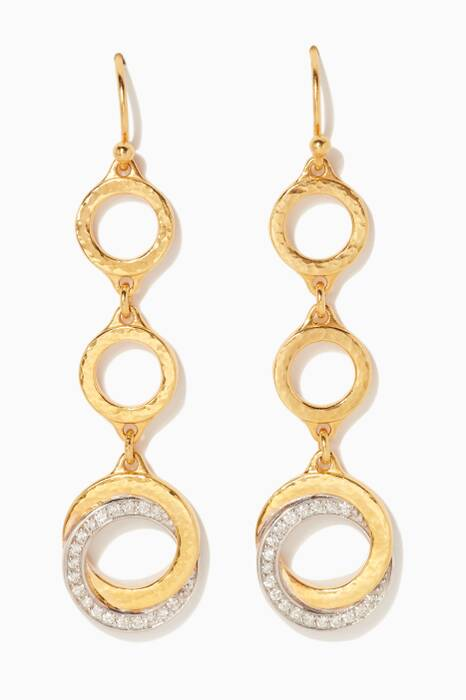 Gold Duet Triple-Drop Earrings