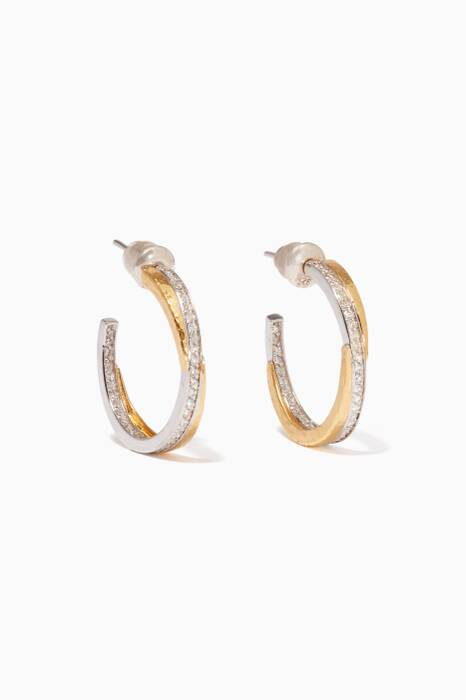 Gold & White-Gold Duet Hoop Earrings