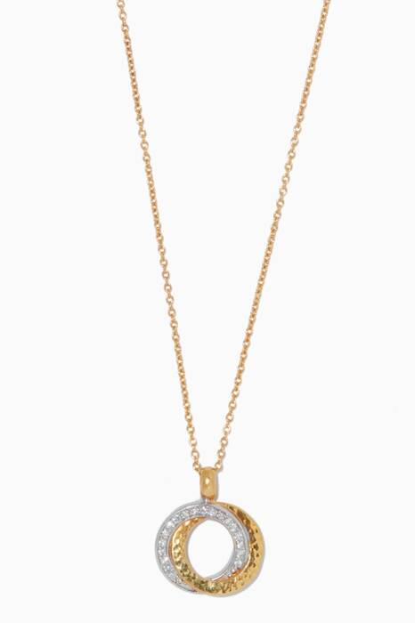 Gold Duet Diamond Pendant Necklace