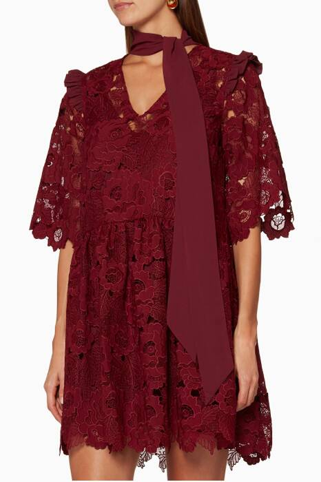 Burgundy Floral Cut-Out Lace Mini Dress