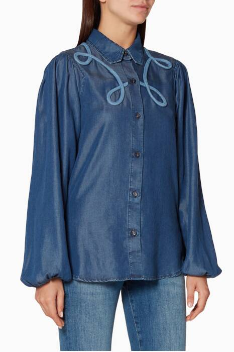Blue Denim 3D Embroidered Blouse