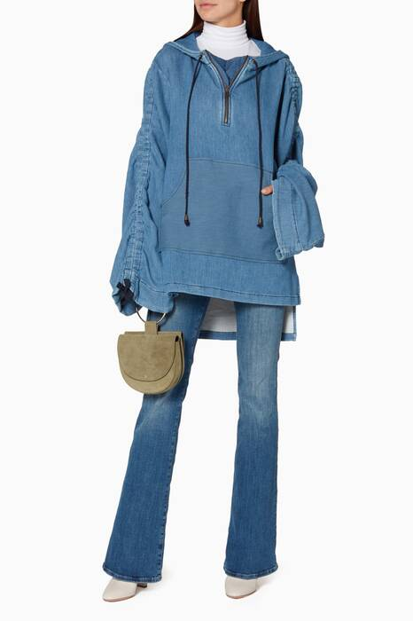 Blue Ruched Oversized Sweatshirt