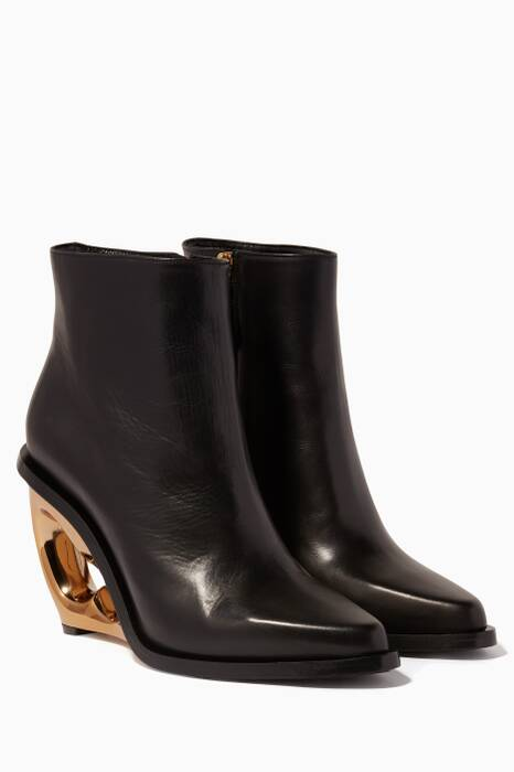 Black Gold Metallic Wedge Ankle Boots