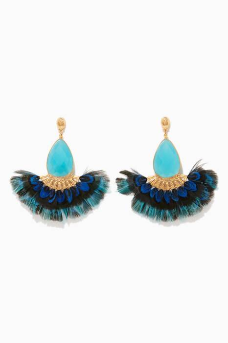Gold & Blue Serti Plume Earrings