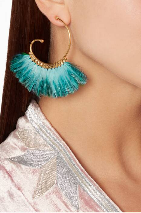 Gold Buzios Bis Plume Earrings