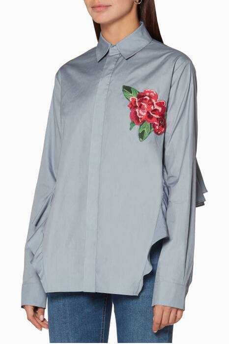 Dove-Grey Woman Ruffle Shirt