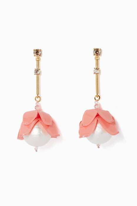 Light-Pink Draping Flower Earrings