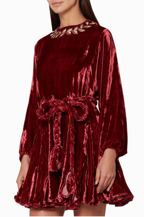Burgundy Ella Leaf Dress