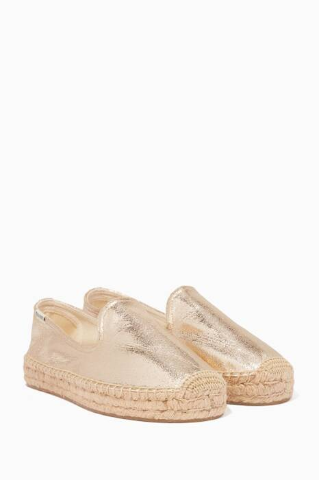 Gold-Metallic Espadrille Smoking Slippers