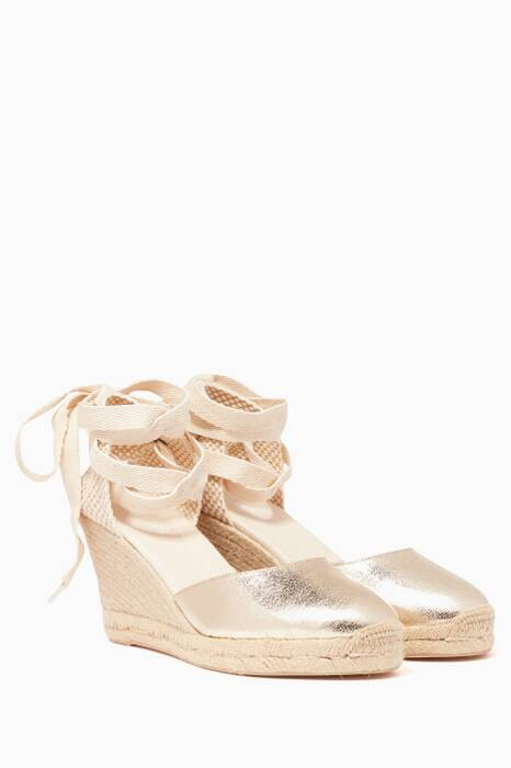 Metallic-Gold Tall Wedge Sandals
