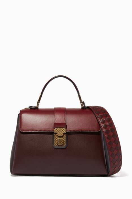 Burungdy Small Nappa Piazza Top Handle Bag