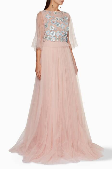 Pastel-Pink Flower-Embellished Tulle Gown