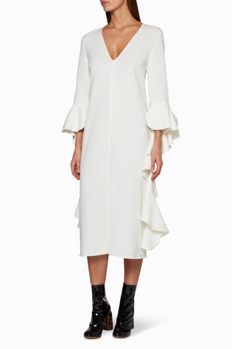 Ivory Reuben Frill Sleeve Dress