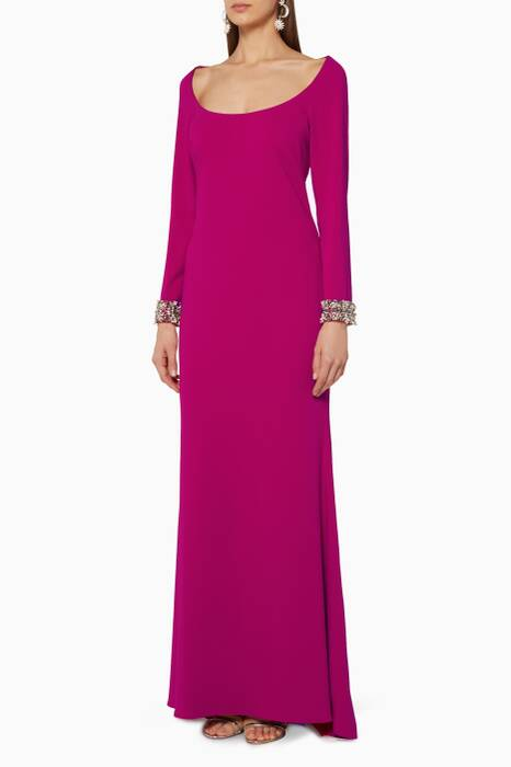 Hot-Pink Beaded-Cuff Scoop-Neck Gown