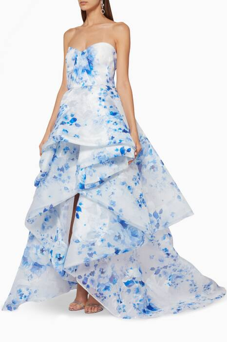 Blue and White Strapless Floral Organza Gown