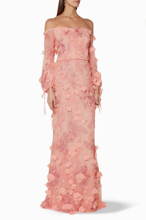 Peach Off-The-Shoulder 3D-Embroidered Gown