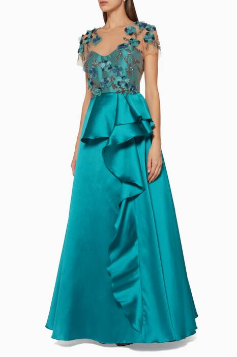 Blue Floral-Embroidered Ruffled Gown