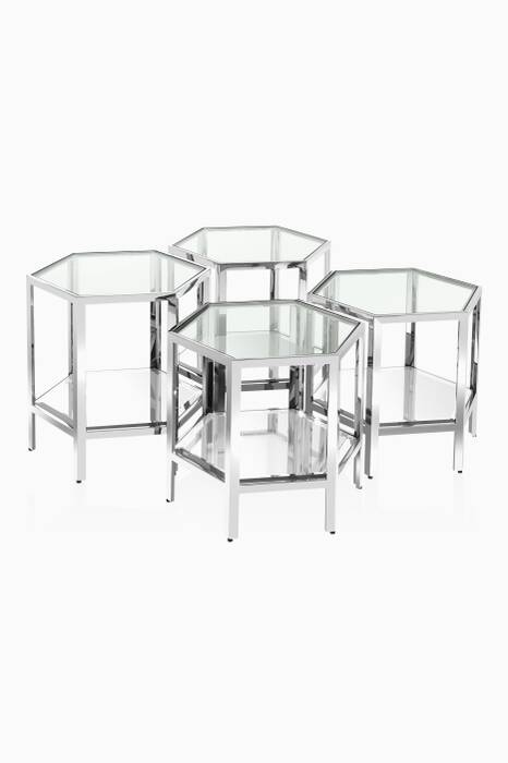 Polished Silver Aramis Coffee Table Set Of 4