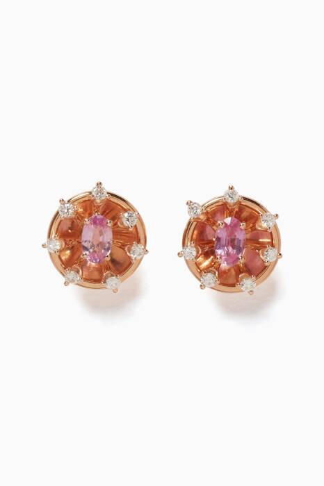 Rose-Gold, Diamond & Pink Sapphire Luminus Earrings