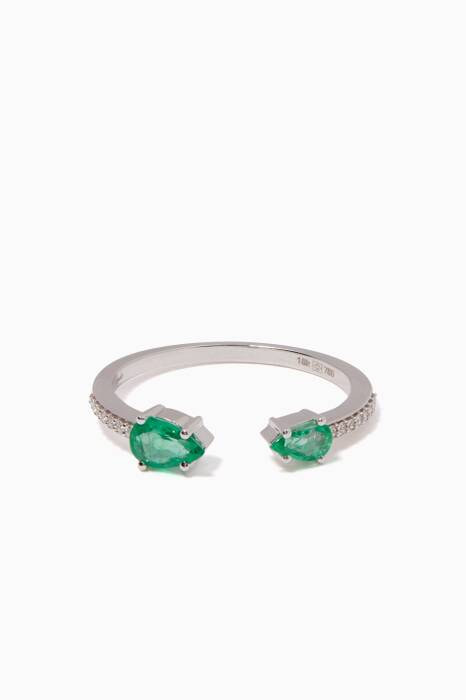 White-Gold & Emerald Spectrum Ring