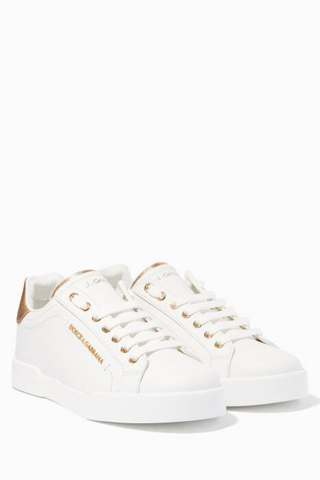 White & Gold Pearl-Embellished Portofino Sneakers