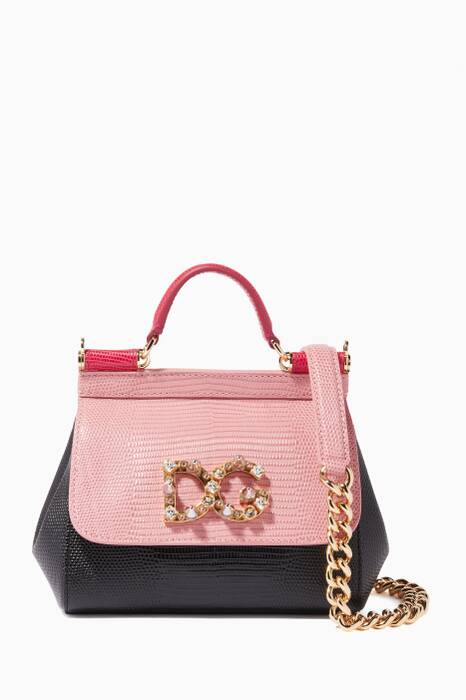 Black & Pink Mini Iguana-Effect Miss Sicily Bag