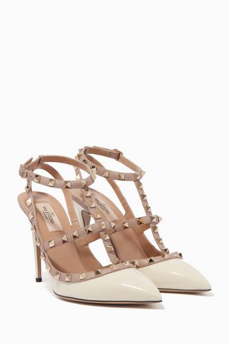 Off-White Two-Tone Rockstud Pumps