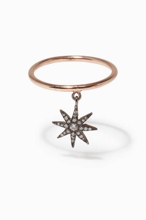 Rose-Gold, Black-Gold & Diamond Twinkle Star Ring