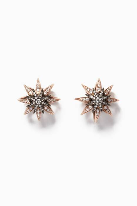 Rose-Gold, Black-Gold & Diamond Cage Earrings
