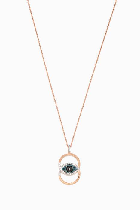 Rose-Gold & Eye Light Double Hoop Necklace