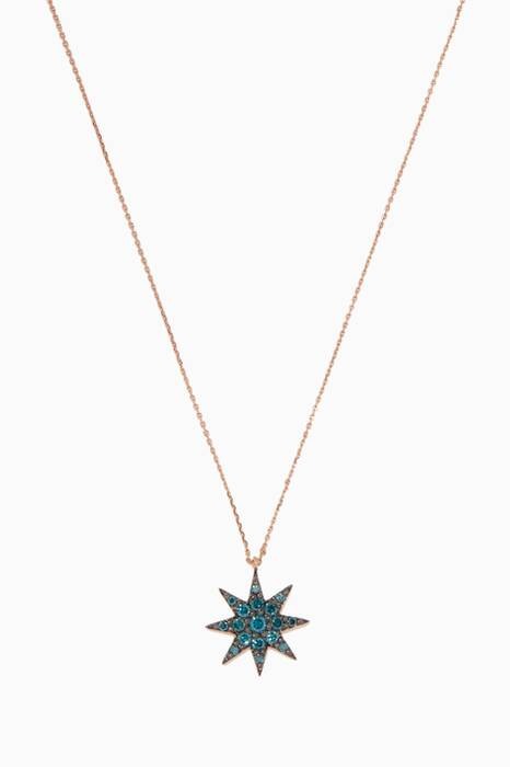 Rose-Gold & Blue Venus Star Diamond Necklace