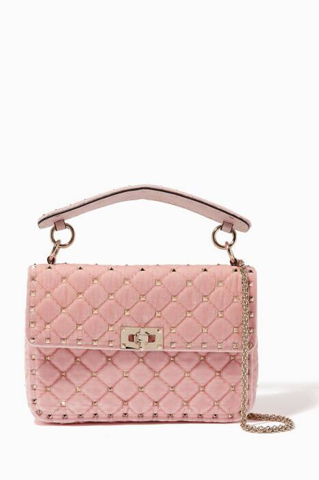 Light-Pink Velvet Rockstud Spike Medium Shoulder Bag