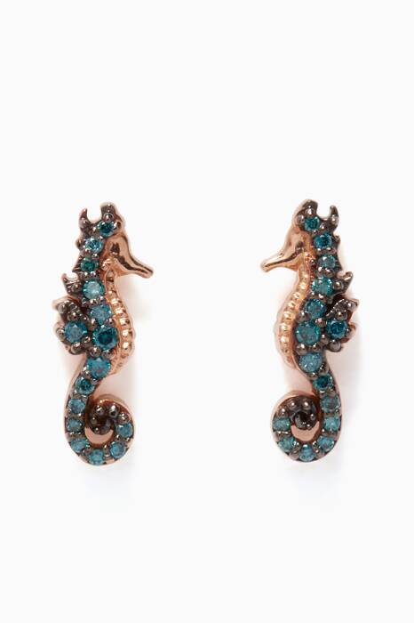 Rose-Gold & Black-Diamond Seahorse Earrings