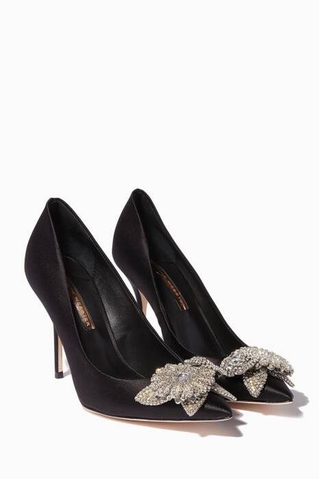 Black Satin Crystal Lilico Pumps