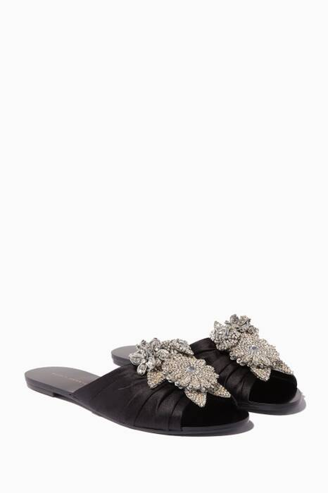 Black Satin Floral Crystal Slides