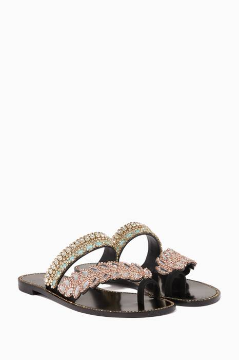 Black Crystal-Embellished Eden Slide Sandals