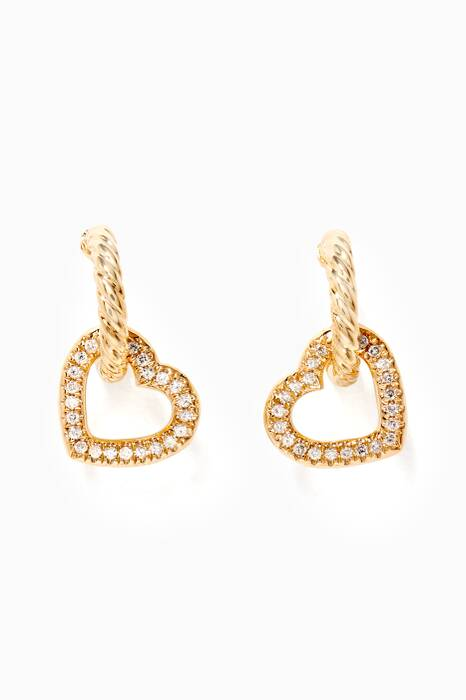 Yellow-Gold & Diamond Heart Drop Hoop Earrings