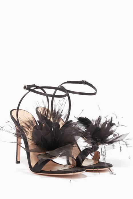 Black Feather-Embellished Sandals