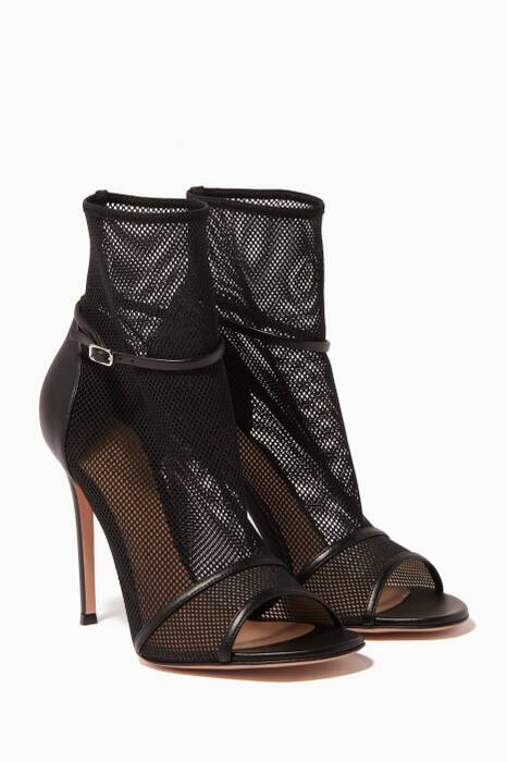 Black Mesh Open Toe Booties