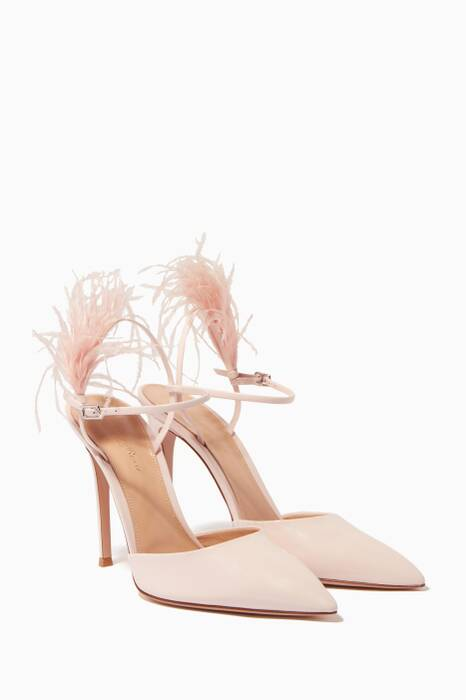 Pastel-Pink Patent Leather & Feather Pumps