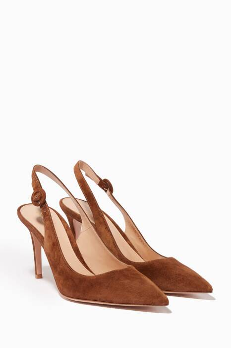 Brown Suede Slingback Pumps